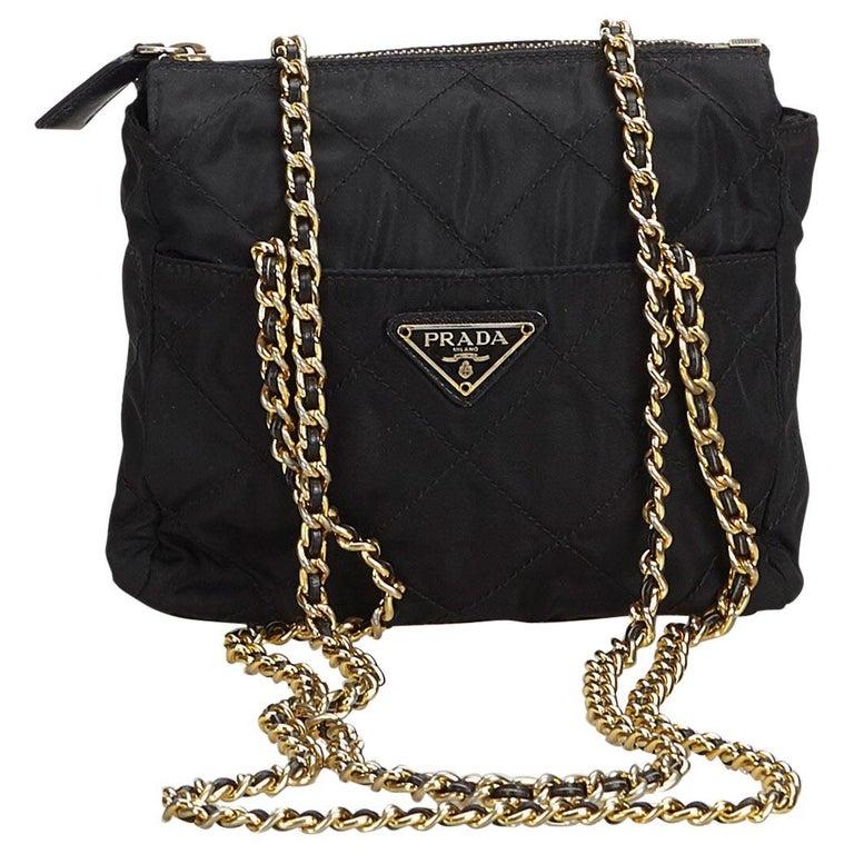 38d8fc61d4 Prada Black Nylon Fabric Chain Crossbody Bag Italy at 1stdibs