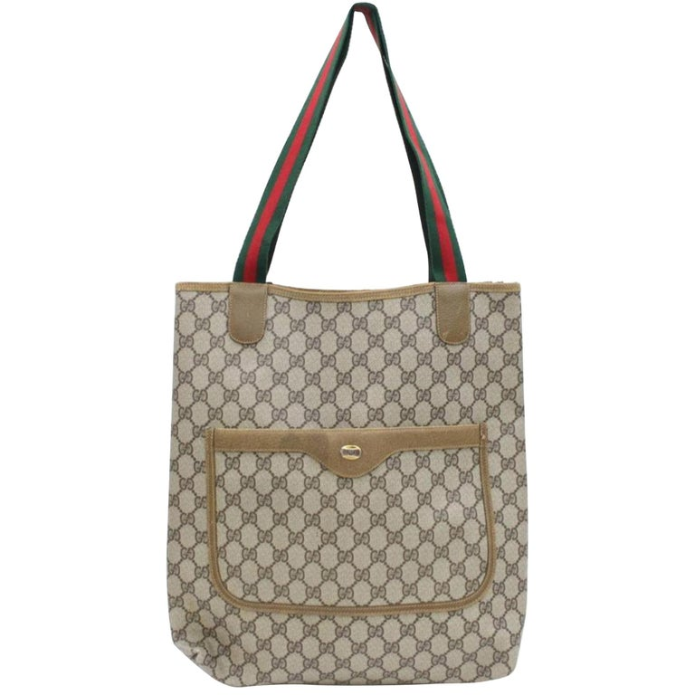 a1db92e1d2295e Gucci Supreme Sherry Monogram Large Web Shopping 868204 Brown Coated Canvas  Tote For Sale