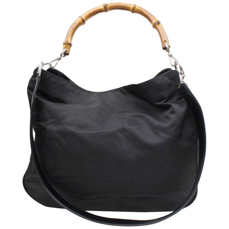 1454bab04a4c Gucci Bamboo 2way Hobo 867679 Black Nylon Shoulder Bag For Sale at ...