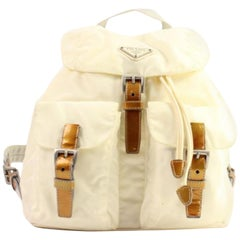 Prada Double Pocket 96pra1014 Ivory X Brown Nylon Backpack