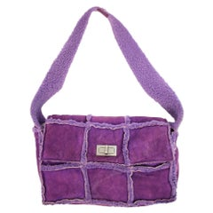Chanel Classic Flap Shearling Ccty63 Purple Shoulder Bag