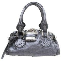 Chloé Paddington Pewter Metallic 869300 Silver Leather Shoulder Bag