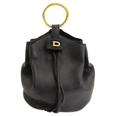 Delvaux Black Leather Bucket Bag
