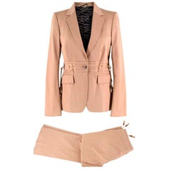 Gucci beige gabardine safari suit US 6