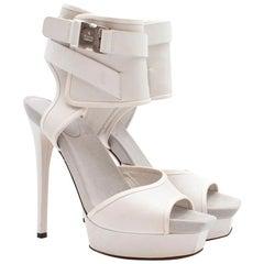 Gucci White Ankle Cuff Platform Sandals US 7.5