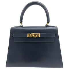 Hermes vintage Kelly 20cm Blue in Box leather