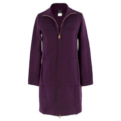 Versace purple zip-through wool-knit coat US 0