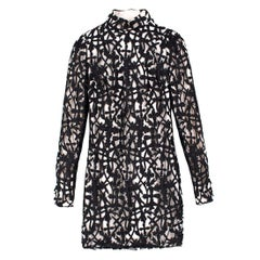 Versace Black & White Silk Lace Dress US 4