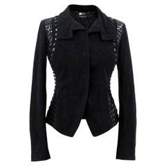 Versace Black Leather Embellished Jacket US 0-2