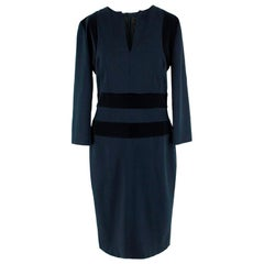 Alexander McQueen Velvet Panelled Midi Dress - Size Small