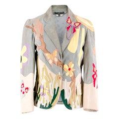 Alexander McQueen Leather Butterfly Applique Jacket US 4