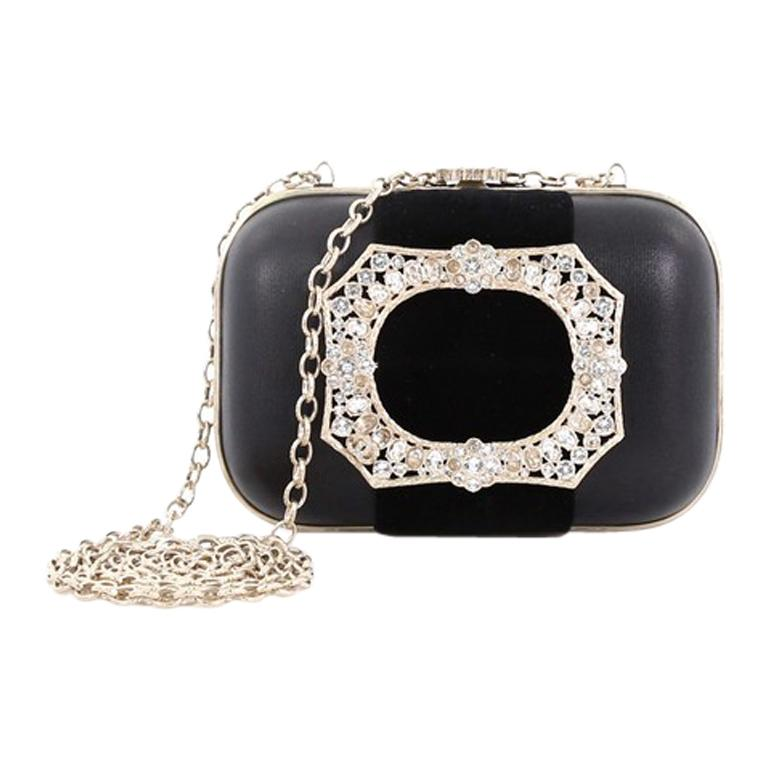 dac961d75384 Chanel Paris-Salzburg Crystal Buckle Minaudiere Clutch Leather with Velvet  For Sale at 1stdibs