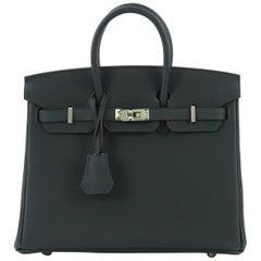 Hermes Birkin Handbag Vert Cypress Togo with Palladium Hardware 25