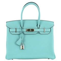 Hermes Birkin Handbag Bleu Atoll Clemence with Palladium Hardware 30