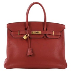 Hermes Birkin Handbag Sienne Clemence with Gold Hardware 35