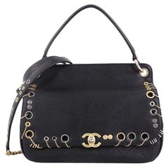 Chanel Piercing Chic Flap Bag Grommet Embellished Caviar with Chain Medium