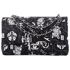 Chanel Airlines Classic Double Flap Bag Quilted Printed Satin Medium
