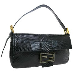 Fendi Black Snakeskin Charm Logo Top Handle Satchel Evening Flap Shoulder Bag