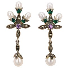 Ari D Norman Sterling Silver Pearl, Amethyst, Marcasite and Enamel Drop Earrings