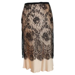 1990s Valentino Roma Beige and Black Silk Lace Long Skirt