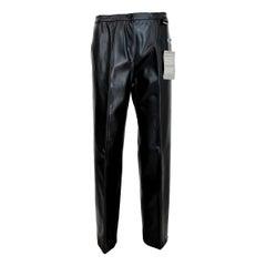 1990s Trussardi Black Eco Leather Regular Pants trousers