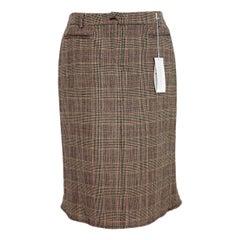 1990s Valentino Roma Beige Tartan Wool Check Godet Skirt