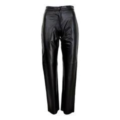 1990s Pierre Cardin Paris Black Leather Pants Regular