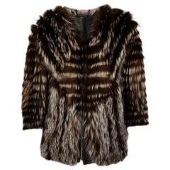 Arzu Kaprol Grey 3/4 Sleeve Fox Fur & Tulle Coat Sz M