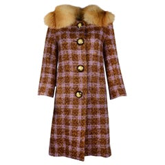 Michael Kors Purple/Brown Wool/Mohair Tweed Coat W/ Removable Fur Collar Sz 4