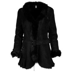 Burberry Black Shearling Belted Coat W/ Fur Trim Sz 4