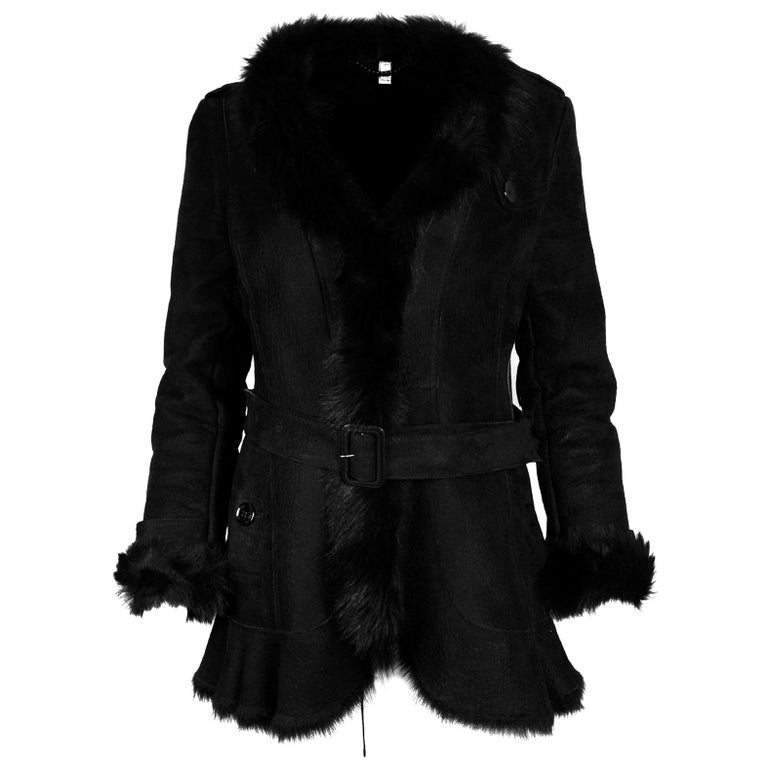 Burberry Black Shearling Belted Coat W/ Fur Trim Sz 4 For Sale