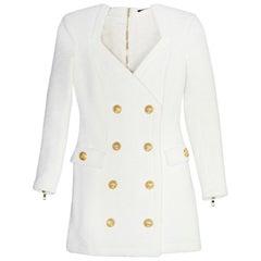 Balmain White Double Breasted Mini Dress W/ Back Zipper Sz FR34/US2