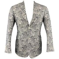 BLACK FLEECE 38 White & Black Paisley Cotton Notch Lapel Sport Coat
