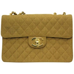 1990s Chanel Beige Canvas Vintage Maxi Jumbo Shoulder Bag