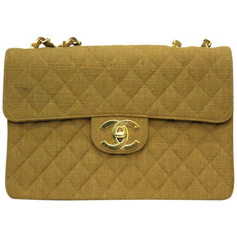 318b26a22c14f0 1990s Chanel Beige Canvas Vintage Maxi Jumbo Shoulder Bag For Sale ...