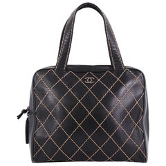 Chanel Surpique Zip Around Satchel Quilted Leather Large