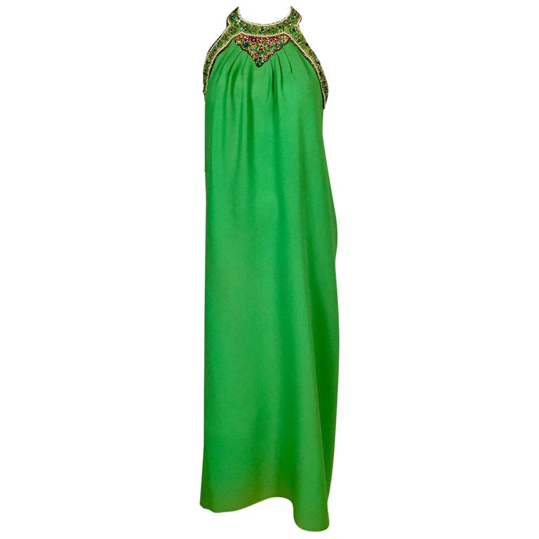 Bob Bugnand Spring Green Jeweled Halter Neck Silk Crepe Dress circa 1970 For Sale