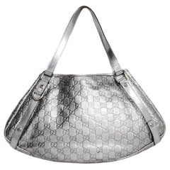 Gucci Silver Metallic Leather Embossed Monogram Abbey Tote Bag