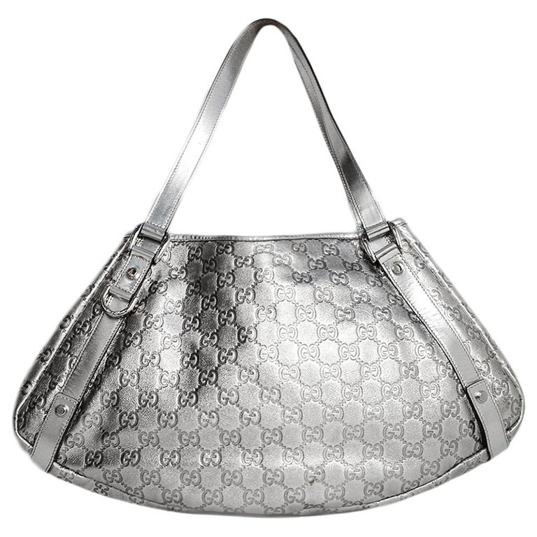 0376d97e402b4f Gucci Silver Metallic Leather Embossed Monogram Abbey Tote Bag For Sale