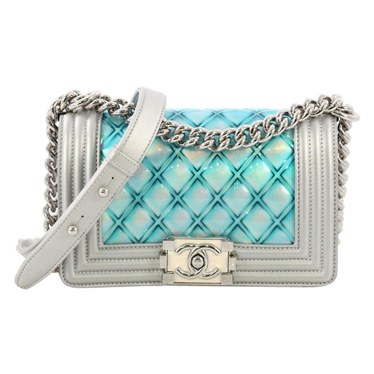 e8679d5e7b54 Chanel Boy Flap Bag Quilted Holographic PVC Small For Sale at 1stdibs