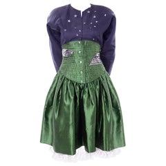 Geoffrey Beene Vintage Green & Blue Dress W/ Silver Stars & Quilted Corset Waist