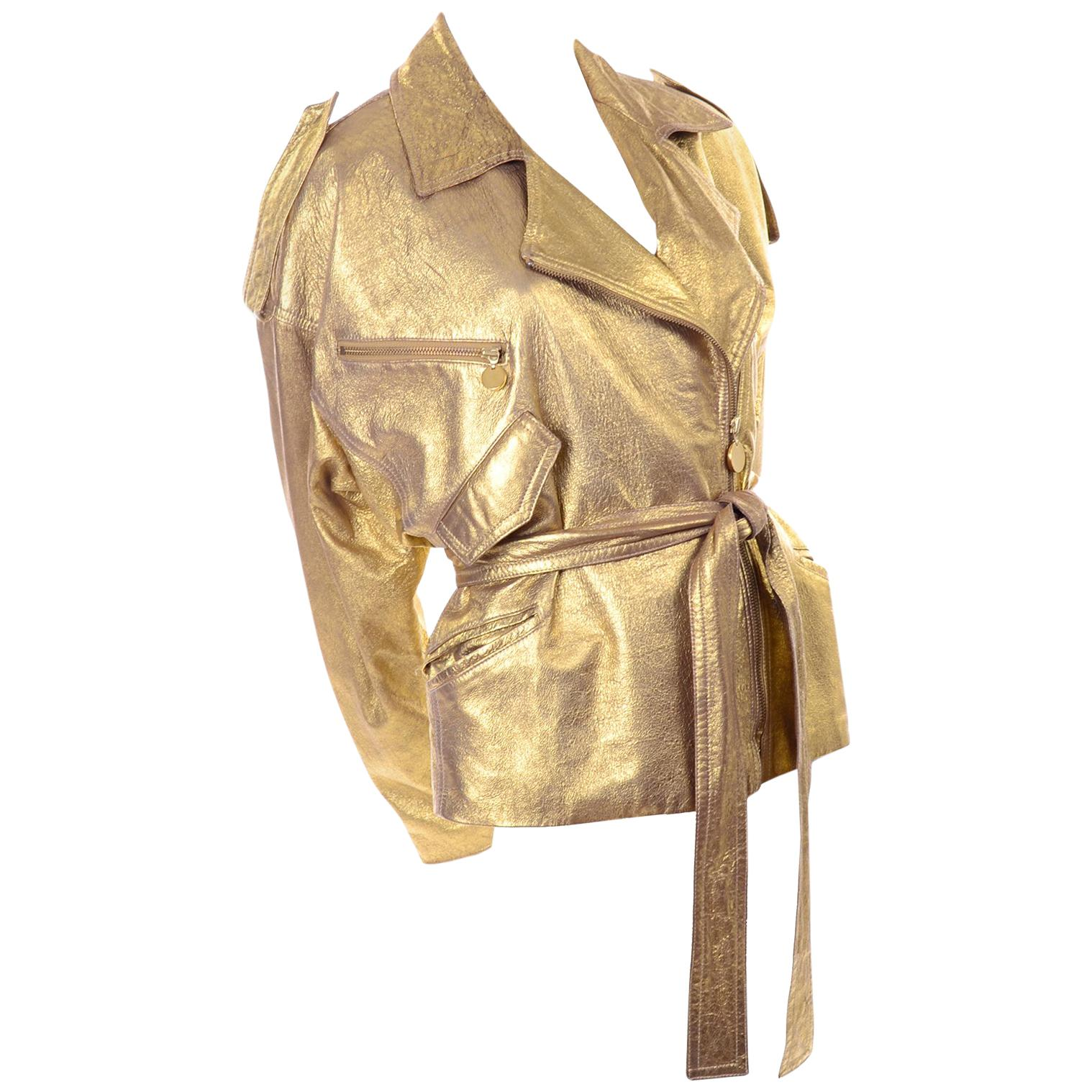 1990s Vintage Donna Karan Gold Leather Zip Front Jacket With Belt & Zippers