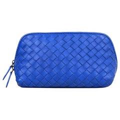 Bottega Veneta Bluette Blue Woven Intrecciato Nappa Leather Medium Cosmetic Case