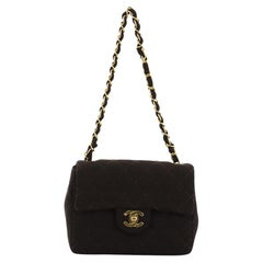 Chanel Vintage Square Classic Single Flap Bag Quilted Jersey Mini
