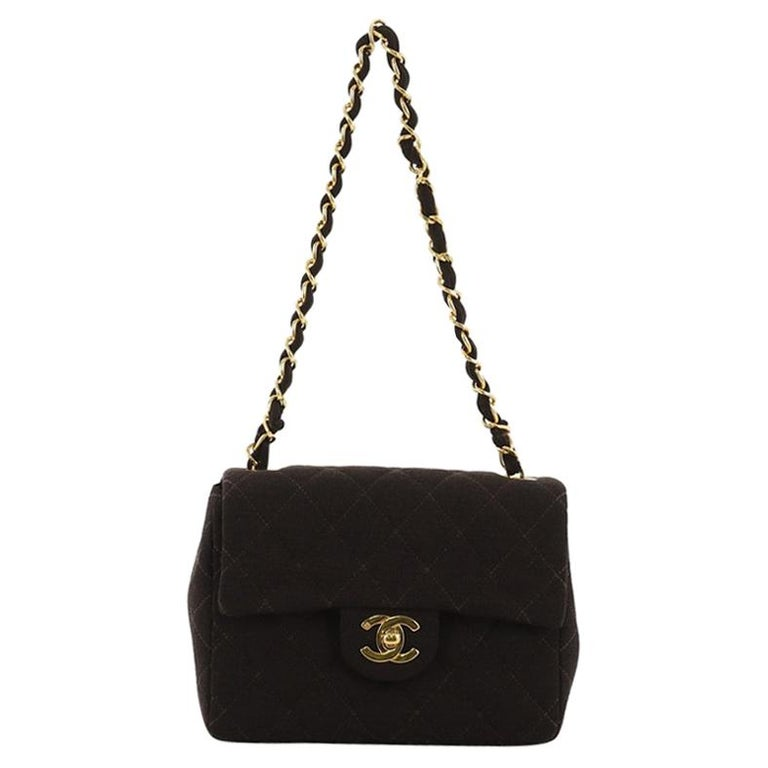 4641ae3d9e28 Chanel Vintage Square Classic Single Flap Bag Quilted Jersey Mini For Sale