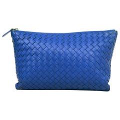 Bottega Veneta Bluette Blue Woven Intrecciato Nappa Leather Medium Biletto Pouch