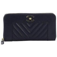 Chanel Mademoiselle Vintage Zip Around Wallet Quilted Sheepskin Long