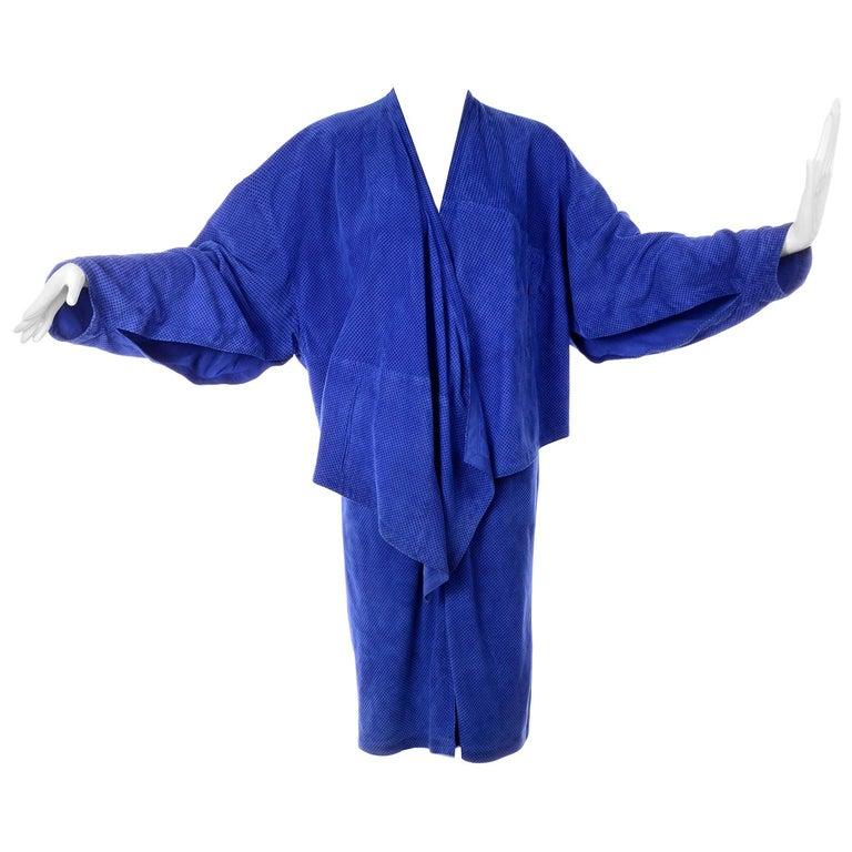 Escada 1980's Blue Suede Asymmetrical Jacket W/ Slits & Skirt  by Margartha Ley For Sale