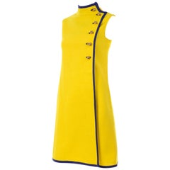 Mod 1960s Yellow Linen Sleeveless Dress With Navy Blue Trim & Brass Buttons