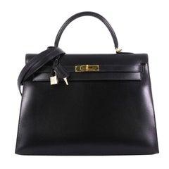 Hermes Kelly Handbag Noir Box Calf with Gold Hardware 35